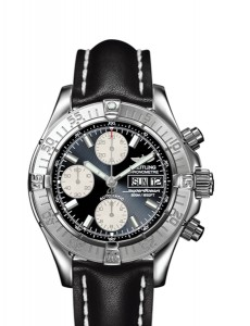 Chrono Superocean with leather strap and black dial.